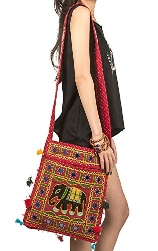 Embroidered Azure Casual Women Mirror Messenger Red Tribe Hippie Scarlet Purse Shoulder Colorful Hobo Tote Body Boho Everyday Cross Elephant Bag Roomy SxqwBvd