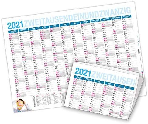 itenga Jahresplaner 2021 Wandkalender DIN A2 250g/m² gefalzt stabil blau