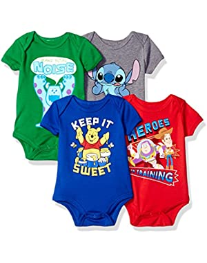 Disney Baby 4-Pack Short Sleeve Bodysuit
