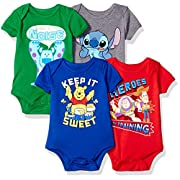 Disney Baby 4-Pack Short Sleeve Bodysuit, Heather Grey/Royal/Red/Green, 3-6M