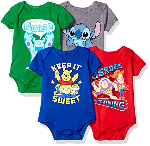 Disney Baby 4-Pack Short Sleeve Bodysuit, Heather Grey/Royal/Red/Green, 6-9M (Baby Clothes Disney)