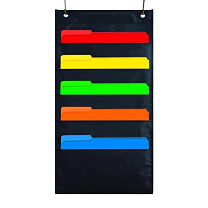 Kruideey 5 Pocket Hanging File Organizer, Cascading Wall Organizer Storage Pocket Chart, Office Supplies Storage, Home & Classroom Organizations - ...