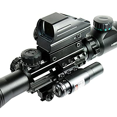 Qinuke 4-12X50 EG Tactical Rifle Scope with Holographic 4 Reticle Sight & Red Laser JG8