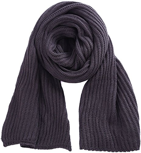 Long Soft Knit (Dark Grey Scarf Warm Knit Scarves for Winter Outdoor Soft Knitted Scarves)