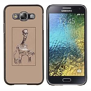 Caricatura de Brown Hombre arte cartelista- Metal de aluminio y de plástico duro Caja del teléfono - Negro - Samsung Galaxy E5 / SM-E500