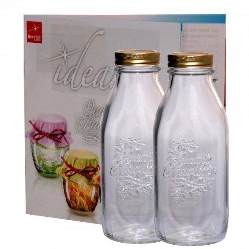 2er Set Einmachglas Original Quattro Stagioni 1,0L Flasche incl. Bormioli Rezeptheft