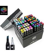 OfficeTree Zestaw Twin Marker Duo – markery graficzne w miękkich i intensywnych kolorach do szkicowania, ilustrowania, rysowania, malowania