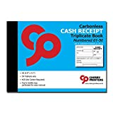 Cherry Carbonless Money Receipt Triplicate Book, with Loose-Leaf Writing Shield, A6 (105mm x 148mm) 50 Sets, Numbered 01-50