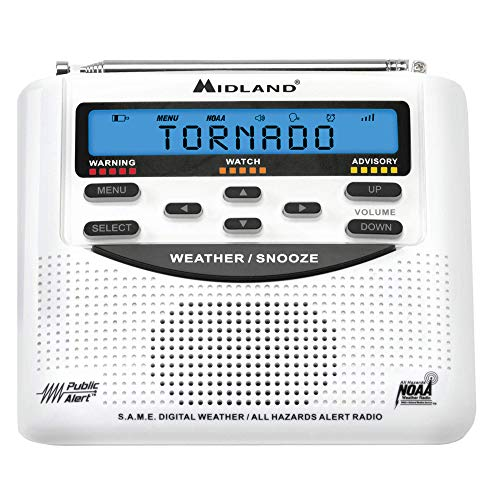 Midland - WR120, NOAA Emergency Weather Alert Radio - S.A.M.E. Localized Programming, Trilingual Display, 60+ Emergency Alerts, & Alarm Clock (WR120C - Clam Packaging)