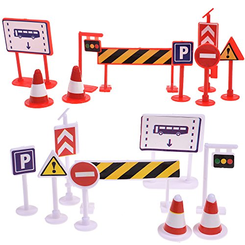 BCP 18 Pieces Street Signs Playset Traffic Signs Playset for Children Play (Plastic Traffic Signs)