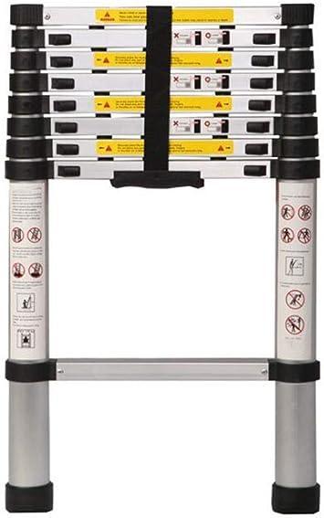 Escalera telescópica de aluminio de una sola cara para el hogar, escalera recta con una sola