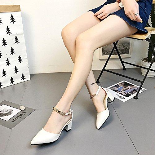 SHOESHAOGE Bold Sangles Avec Pointe Fendue Sandales Femme Et Chaussures Femmes Chaussures High-Heeled, Rome. EU39