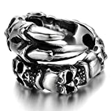 Stainless Steel Ring for Men, Claw Skull Ring Gothic Silver Band 19MM Epinki