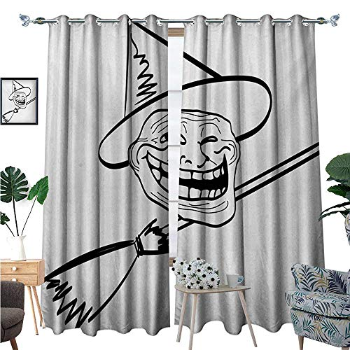 Humor Room Darkening Wide Curtains Halloween Spirit Themed Witch Guy Meme LOL Joy Spooky Avatar Artful Image Print Decor Curtains by W72 x L108 Black and White]()