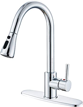 HEABLE Kitchen Sink Faucet with Pull Down Sprayer Chrome, Single Handle  High Arc Pull out Kitchen Faucet, Single Level Solid Brass Kitchen Sink ...