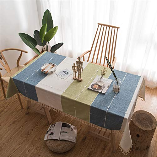 (LIAOYLY Square Dining Table Cloth Tassels Rectangle Tablecloth Wedding Party Cotton Linen Kitchen Cover Home Decoration,lanlvxiuhua Gezi,About 100x140cm,)