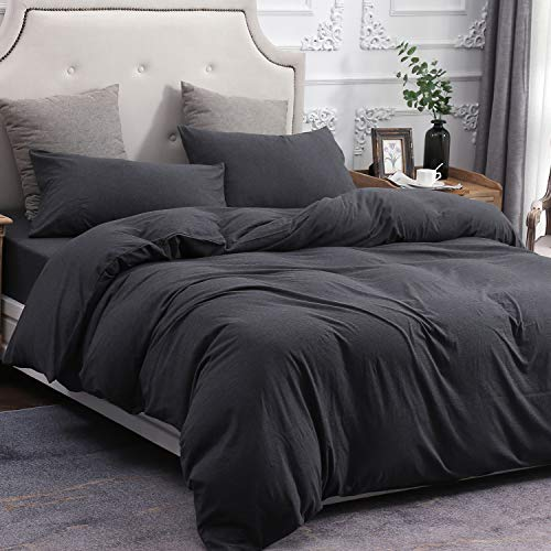 PURE ERA Duvet Cover Set 100% Cotton Jersey Knit Bedding, Super Soft Comfy, Heathered Charcoal Black Queen, with Zipper Closure (3pc Set, 1 Comforter Cover + 2 Pillow Shams)