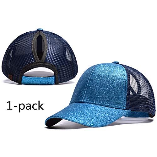 M_Eshop 2 Pack of Ponytail Baseball Cap Ponycap Women Girls Messy High Bun Ponytail Adjustable Mesh Trucker Baseball Hat (Sequin Blue(1 ()