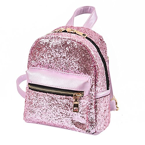 Bling Leather Fashion Sequins Pink Prosperveil Small Women Bag Schoolbags Backpack PU Mini qxHCC1w4O