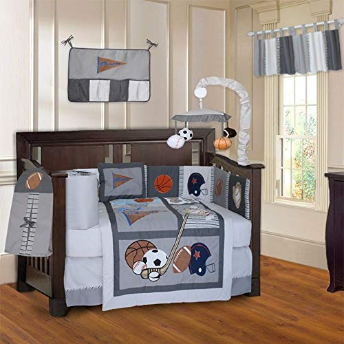 10 Piece Grey Sports Baby Crib Bedding Set with Musical Crib Mobile Basketball Soccer Hockey Football Crib Bedding For Boys Newborn Nursery Bed Set Infant Child Blanket Quilt Skirt & - Basketball Mobile Usa