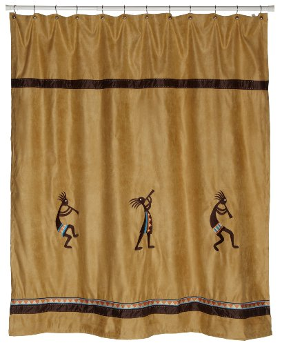Avanti Linens Kokopelli Shower Curtain, Gold