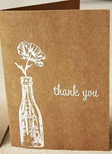 rustic thank you card set of 8, blank thank you notes, blank card set, (Handmade Note Card Set)