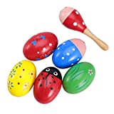 ROSENICE Adorable Wooden Egg 6Pcs Maracas Music Percussion Baby Kids Children Toy Egg Shakers Mini Wooden Ball Musical Instruments Maracas (Random Color)