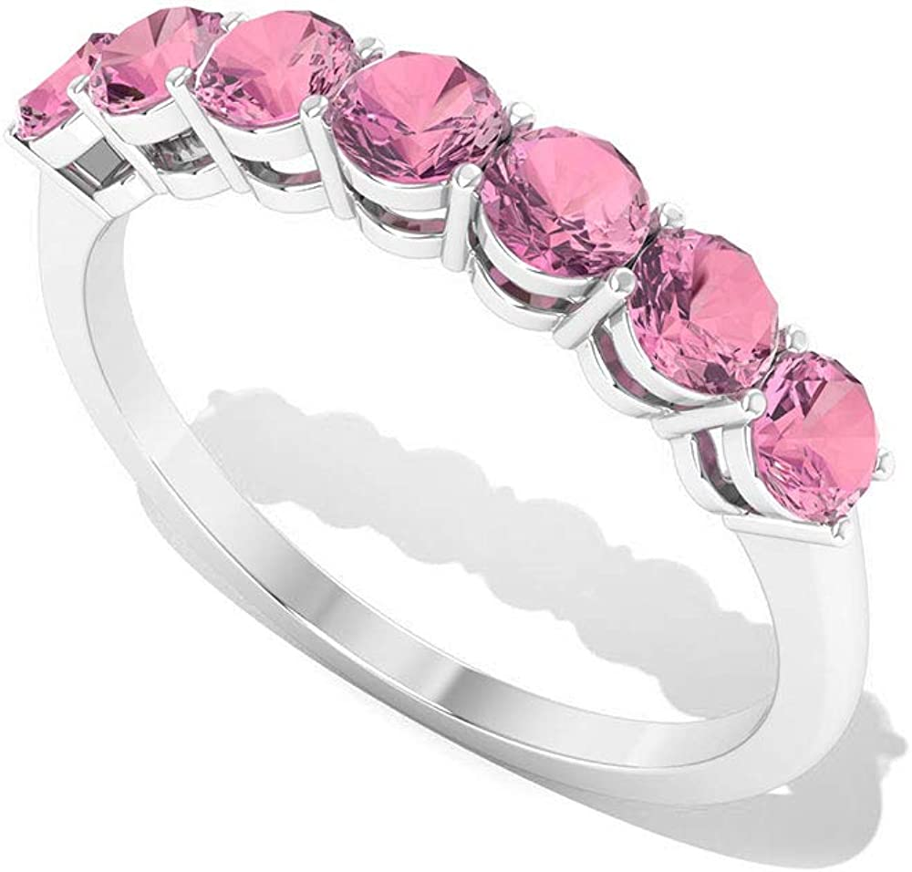 Engagement Ring SGL Certified Pink Gemstone Ring Seven Stone Women Ring 0.84Ct Tourmaline Half Eternity Wedding Ring Minimalist Promise Gold Ring