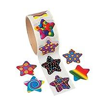 Cool Fun 27729 Funky Star Roll Stickers - 100 Piece