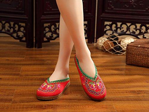 Insun Damen Hausschuh Handgemachter Geschnürte Espadrilles Slipper Flats Schuhe Rot