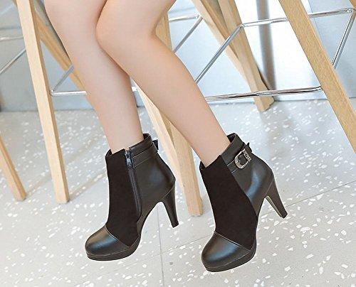 Charm Foot Mujeres Elegant Zipper Platform Botas Cortas De Tacón Alto Negro