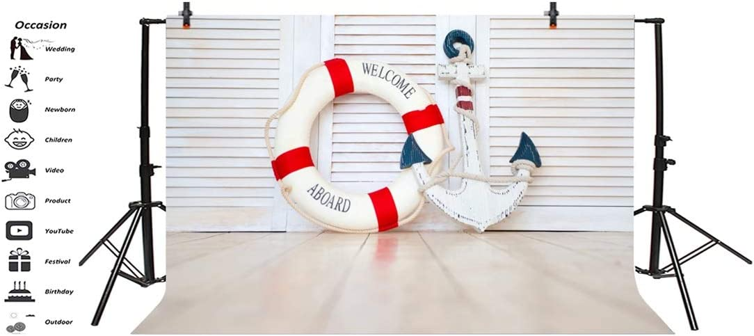 Yeele 10x8ft Navigation Photography Background Anchor Lifebuoy White Gray Wooden Floor Photo Backdrops Portrait Shooting Studio Props