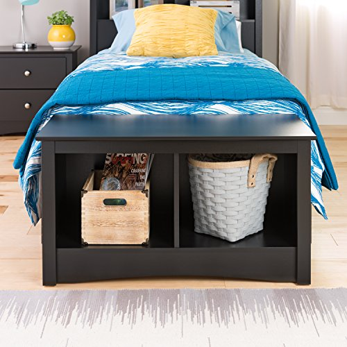 Black Twin Cubbie Bench
