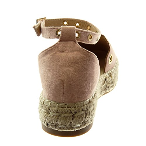Perforato cm 5 Zeppe Rosa con d'oro 3 Caviglia Donna Cinturino Tacco Corda alla Blocco Angkorly Scarpe Sandali a Espadrillas Moda vCxnHIwTqU