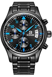 BINGER Mens Quartz Multifunction Big Face Casual Date Watch Luminous Cool Blue Hand Stainless Steel Band