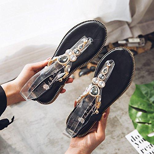 donna ITTXTTI infradito Sandali Studenti con New Fashion donna estivi scarpe da piatti donna da da Sandali romane black Wild infradito Sandali 5rrtdwq