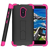zte imperial ii otterbox - TurtleArmor | ZTE Imperial Max Case | Max Duo Case | Grand X Max 2 Case [Grip Combat] Rugged Impact Dual Resistant Armor Kickstand Defender Case Pink Designs - Pink