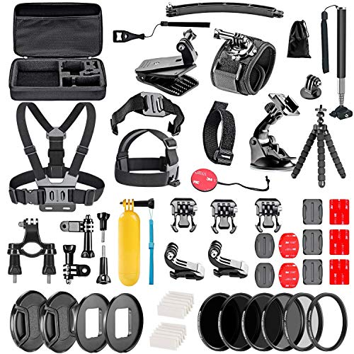 Navitech 60-in-1 Action Camera Accessories Combo Kit with EVA Case Compatible with The Kaiser Baas X2 Action Camera