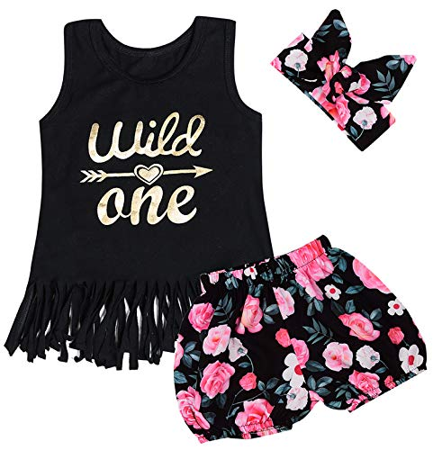 Truly One 3PCS Outfit Short Set Baby Girls Floral Tops + Pants + Headband (Black04, 12-18 Months) (First Year Gift)