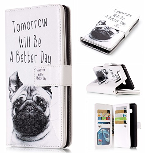 Note 8 Case, Galaxy Note 8 Wallet Case, Easytop Embossed PU Leather Magnetic Flip Cover 9 Card Holders Wallet Purse Case for Samsung Galaxy Note 8 Built-in Stand Magnet Closure (Pug Tomorrow Better)