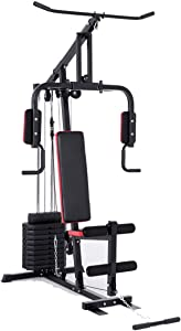 GYMAX Weight Training Machine, Multifunctional Strength Training Machine Equipment with 100 lbs Weight Stack, Suitable for Home Gym System Weight Training Exercise Workout