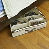 ZizHome Under Bed Shoe Organizer for Kids and Adults (12 Pairs ) – Underbed Shoes Closet Storage Solution - Made of Breathable Materials with Front Zippered Closure – Easy to Assemble