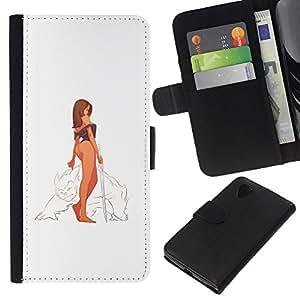 LECELL--Cuero de la tarjeta la carpeta del tirón Smartphone Slots Protección Holder For LG Nexus 5 D820 D821 -- Guerrero Mujer atractiva --