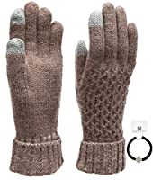 Women's Winter Touchscreen Wool Blend Soft Knitted Warm Gloves with MIRMARU Hair Tie