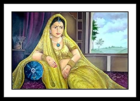 Beautiful Painting Of Royal Lady In Cultural Dress Rajasthani