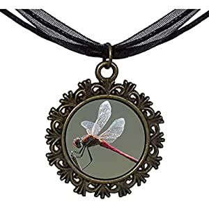 Chicforest Bronze Retro Style Beautiful Lovely Dragonfly Round With Flower Lace Pendant
