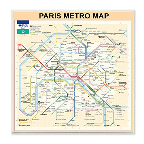 (The Stupell Home Décor Collection Neutral Tan Travel Paris Metro Subway Map Wall Plaque Art 12 x 12)