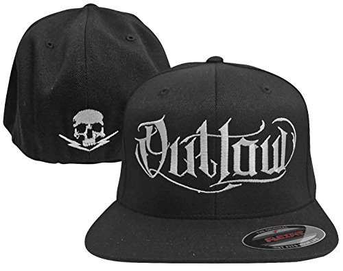 Outlaw Threadz Men's Script Hat White (Black, One Size Fits Most Most) (Outlaw Hat Flex Fit)
