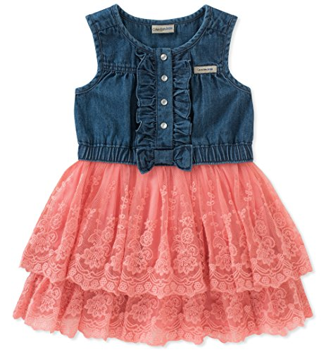 Calvin Klein Girls' Toddler Denim-Mix Fabric Dress, Dark Blue/Salmon Rose, 2T ()