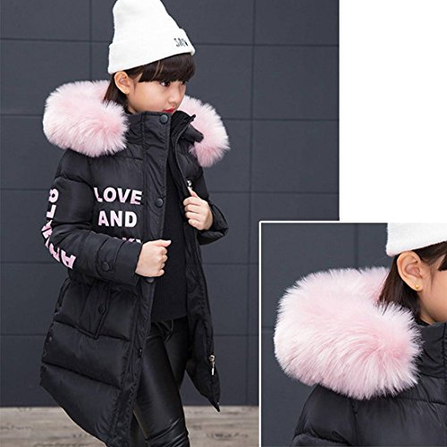Akaufeng Girl Long for Child FellWinterjacke Coat mit Hood Black Kapuze bf7gy6